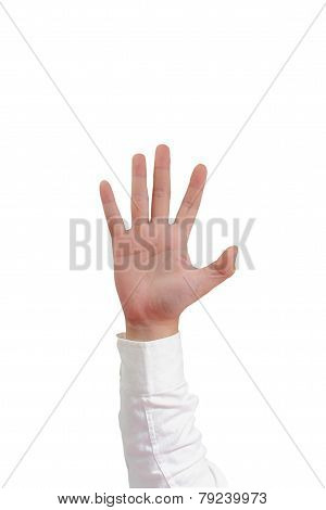 Number Five Hand Gesture Isolated on White