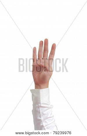 Number Four Hand Gesture Isolated on White