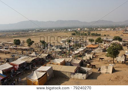 View From The Top Of The Ferris Wheel Of Pushkar Camel Fair