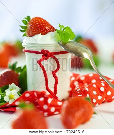 Fresh Strawberries With Healthy Yogurt