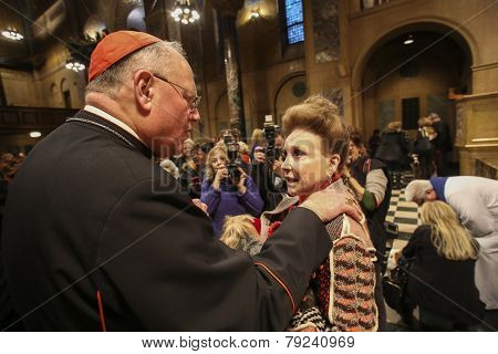 Cardinal Dolan with Cindy Adams