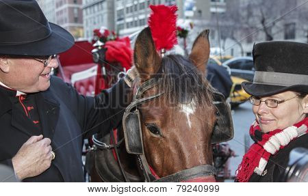 Timothy Cardinal Dolan blesses carriage horse