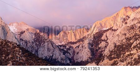 Mt Whitney Covered Cumulus Cloud Sierra Nevada Range California