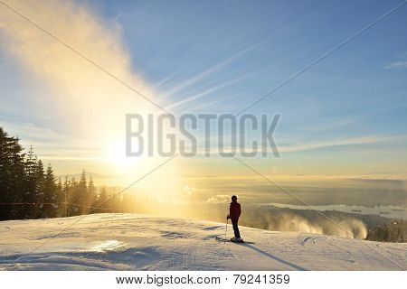 Lady Skier Enjoy Sunrise On Grouse Mountain