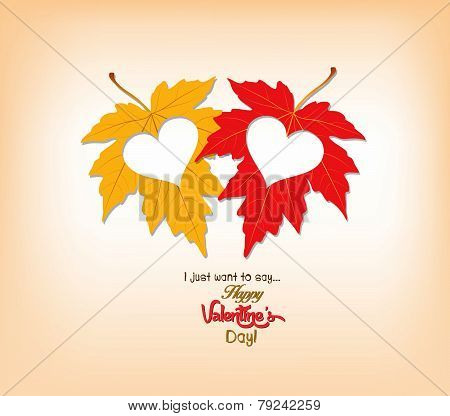 valentines day autumn leaves with hearts