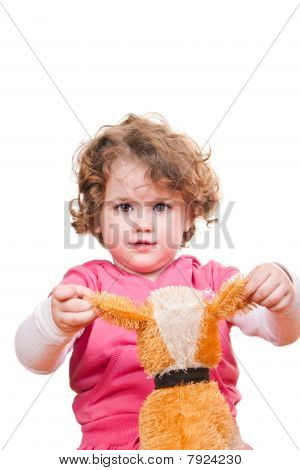 Girl Playing With Her Stuffed Animal