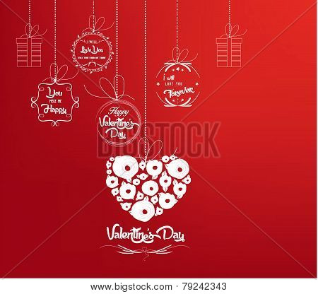 Background with heart by valentines day