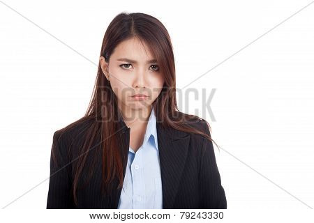 Young Asian Businesswoman Is In Bad Mood