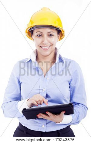 Female engineer holding a tablet computer, isolated on white background