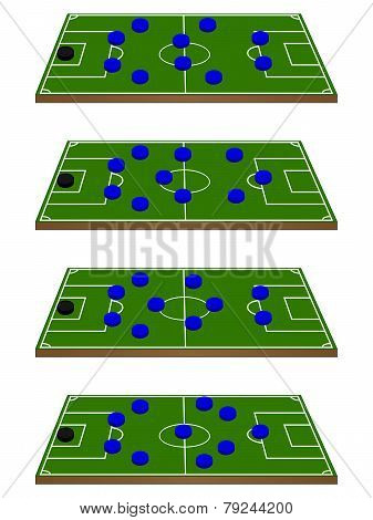 Football Team Formations Circles 3D Perspective