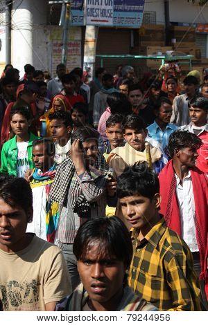 Crowd Of People Walking At Pushkar