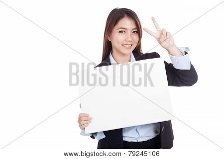 Young Asian Businesswoman Show Victory Sign And  Blank Sign