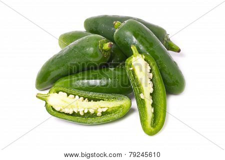 Jalapeno Pepper Isolated On White.
