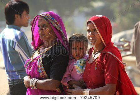 Indian family At Pushkar Fair