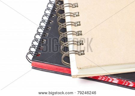 Close Up Of Ring Binder Hard Cover Book Isolated On White.