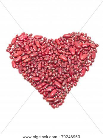 Red Kidney Beans Heart Shape Isolated On Whte.