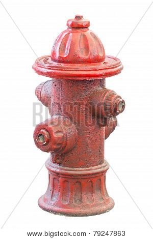 Old And Dirty Fire Hydrant Isolated On White.