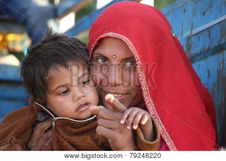 Beautiful Indian Mum With Her Son