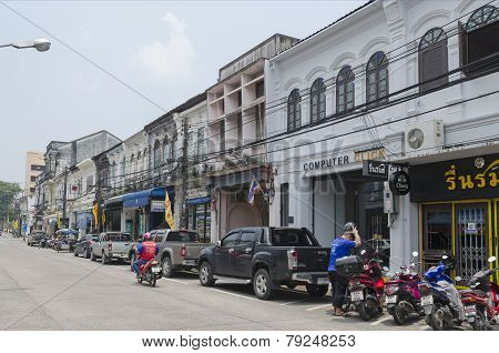 Phuket City, TH-Sept,18 2014: The streets of the old town - Yaowarat Road, Phuket Town, Thailand