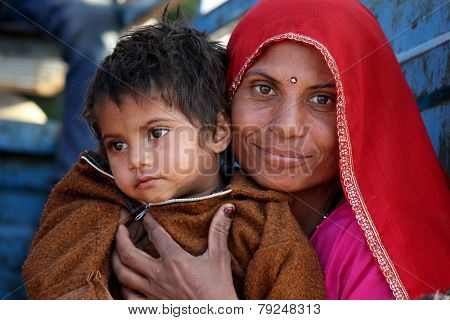 A Beautiful Indian Mum With Her Son