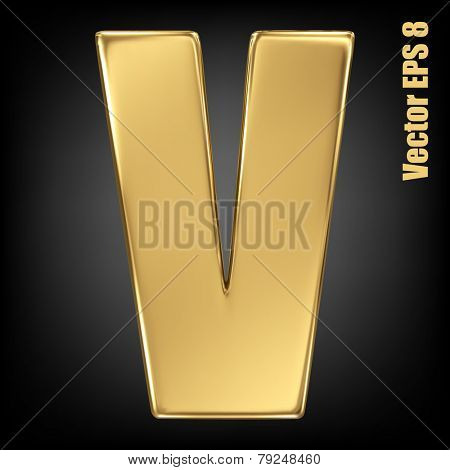 Vector letter V from gold solid alphabet. Uppercase golden font collection. EPS 8