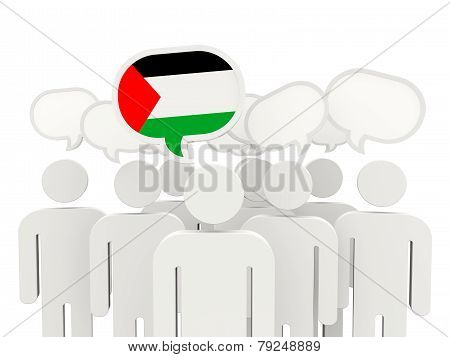 People With Flag Of Palestinian Territory