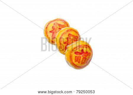 Close Up Of A Mooncake Isolated