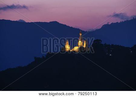 Swayambhunath stupa on sunset Kathmandu Nepal
