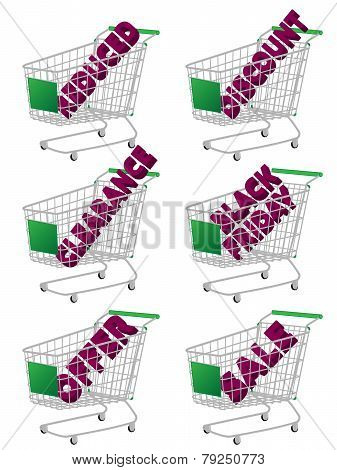 Green 3D Shopping Cart With Sale Texts