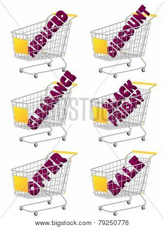 Yellow 3D Shopping Cart With Sale Texts