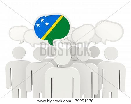 People With Flag Of Solomon Islands