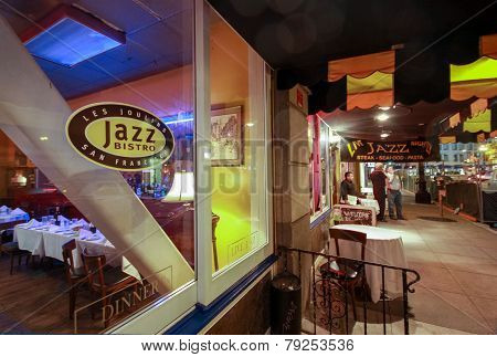 San Francisco, Ca, Us - October 3, 2012: Oldest Jazz Club And Cafe Les Joulins Jazz Bistro At Ellis