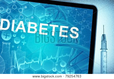 the word diabetes on a tablet