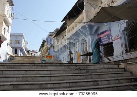 The Stairs To Arrive At The Pushkar Sacred Lake
