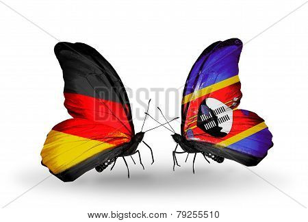Two Butterflies With Flags On Wings As Symbol Of Relations Germany And Swaziland
