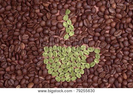 Cup Made Of Green Coffee Beans