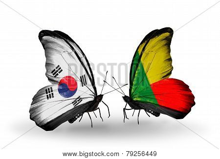 Two Butterflies With Flags On Wings As Symbol Of Relations South Korea And Benin