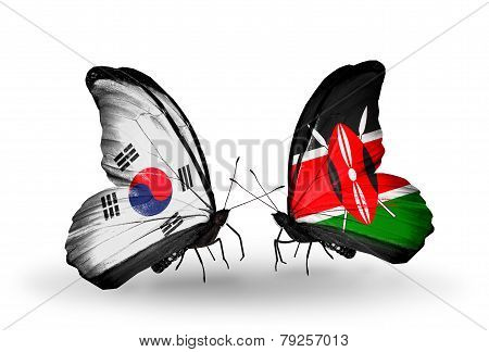 Two Butterflies With Flags On Wings As Symbol Of Relations South Korea And Kenya
