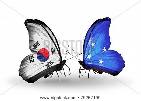 Two Butterflies With Flags On Wings As Symbol Of Relations South Korea And Micronesia