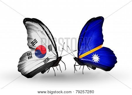 Two Butterflies With Flags On Wings As Symbol Of Relations South Korea And Nauru
