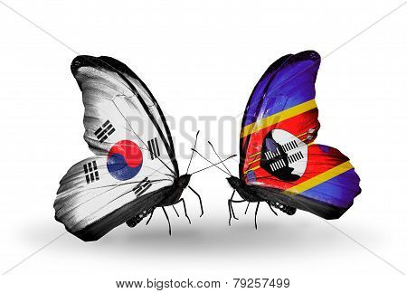Two Butterflies With Flags On Wings As Symbol Of Relations South Korea And Swaziland
