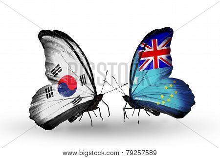 Two Butterflies With Flags On Wings As Symbol Of Relations South Korea And Tuvalu