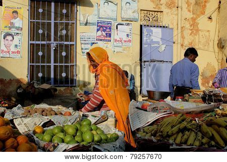 Indian Girl Selling Vegetables