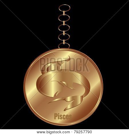 Bronze Charm For Pisces Over a Black Background