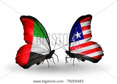 Two Butterflies With Flags On Wings As Symbol Of Relations Uae And Liberia