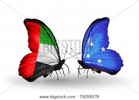 Two Butterflies With Flags On Wings As Symbol Of Relations Uae And Micronesia