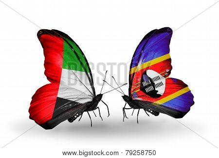 Two Butterflies With Flags On Wings As Symbol Of Relations Uae And Swaziland