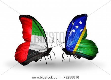 Two Butterflies With Flags On Wings As Symbol Of Relations Uae And Solomon Islands