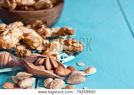Crescent Almond Cookies Background