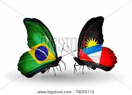 Two Butterflies With Flags On Wings As Symbol Of Relations Brazil And Antigua And Barbuda